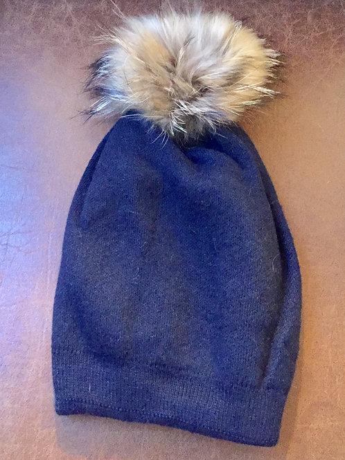 bonnet bleu marine pompon