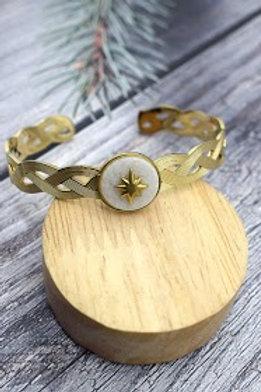 jonc doré étoile du sud  fond nacré acier inoxydable