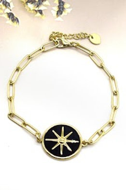 bracelet doré étoile du sud fond noir acier inoxydable