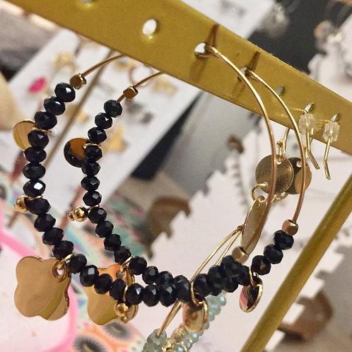 Boucle d'oreille perles noires et breloques acier inoxydable