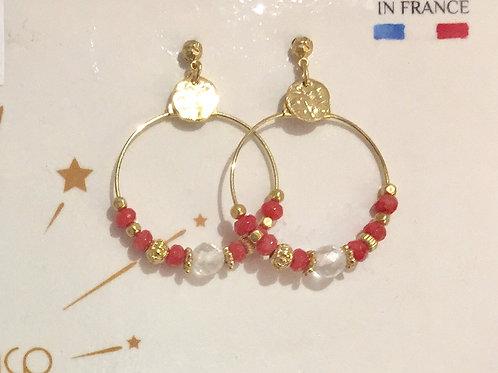 boucles d'oreilles créoles et perles