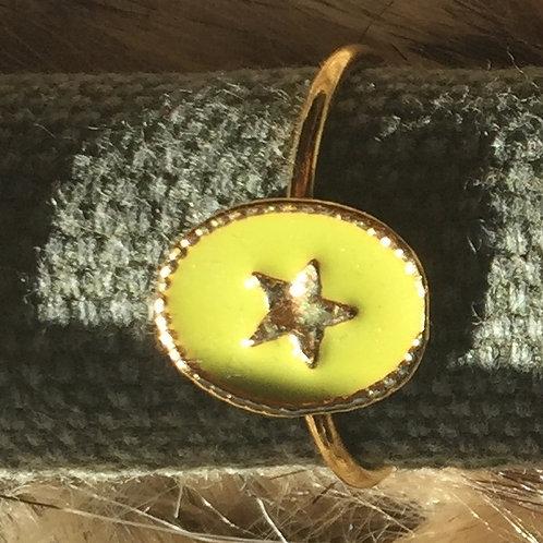 Bague fine ajustable RACHEL - Médaillon & Etoile dorée