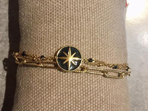 bracelet doré 3 ranges avec étoile du sud noire  en acier inoxydable