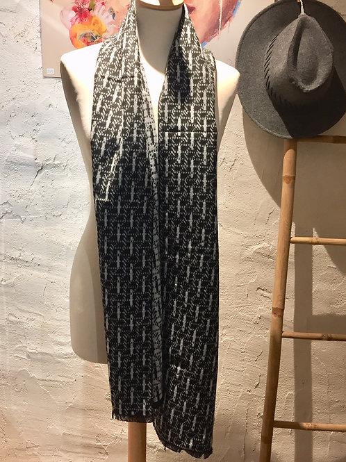 Echarpe Homme motifs gris clair et noir