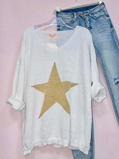 pull blanc étoile or