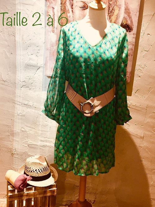 robe graphique verte