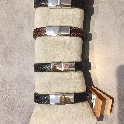 bracelet en cuir et acier inoxydable pour Homme