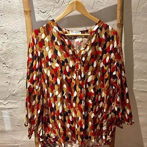 blouse feuilles rouge, marron, noir CHRISTY