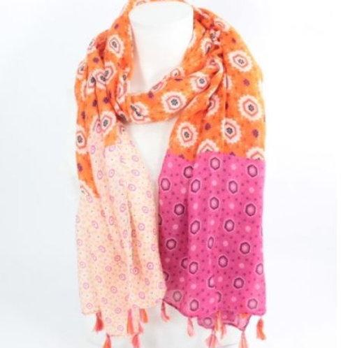 foulard imprimé mode - orange et rose
