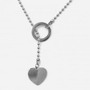 collier acier inoxydable cœur et anneau argenté