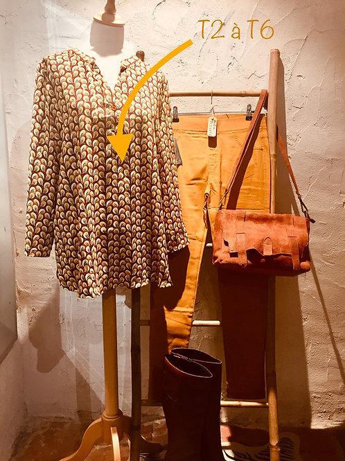blouse afrique ocre et moutarde