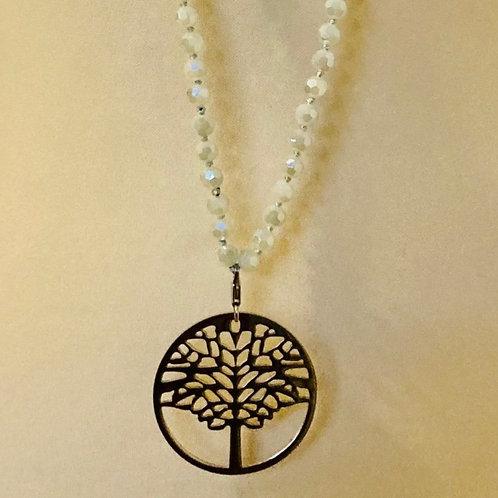 sautoir perles gris clair et pampille arbre de vie argentée en acier inox