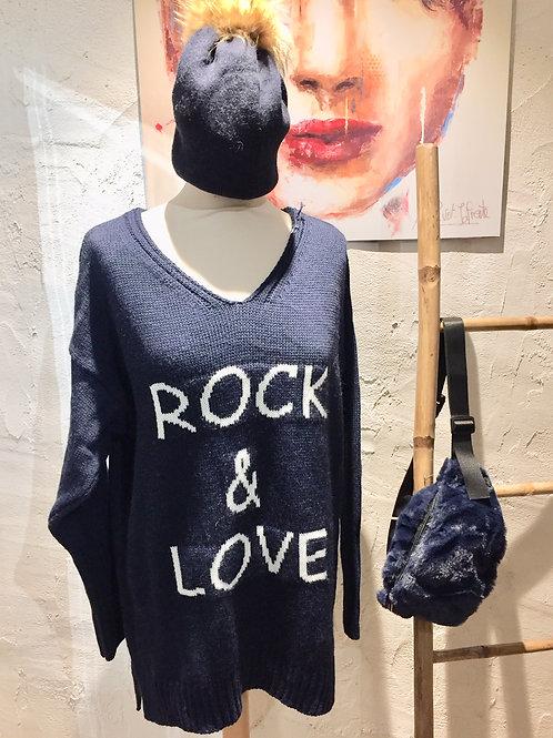 Pull long rock & love bleu marine