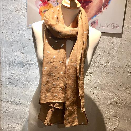 foulard fin feuilles dorées
