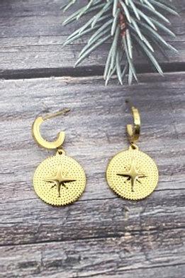 boucles étoile du sud dorées acier inoxydable