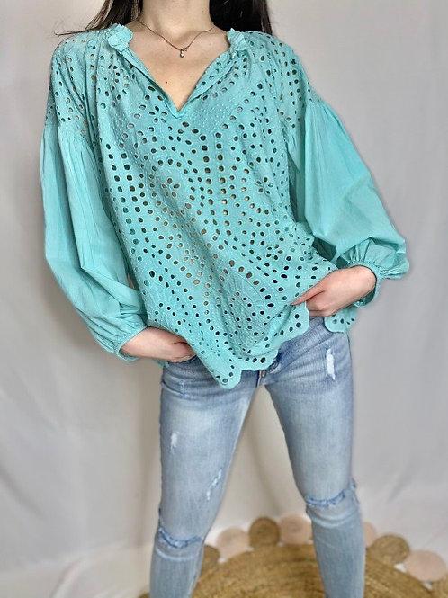blouse en broderie anglaise vert d'eau