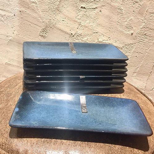 Coupelle rectangle grès du temps 10X22 CM bleu