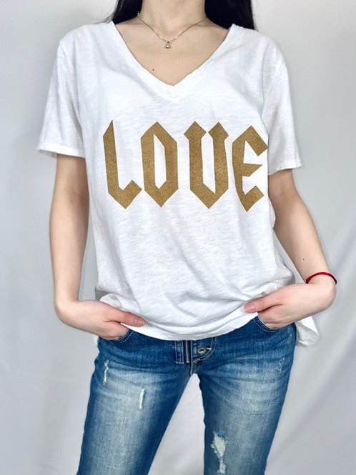tee shirt love blanc
