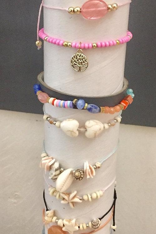 bracelets réglables corde ou élastique avec nœud coulissant
