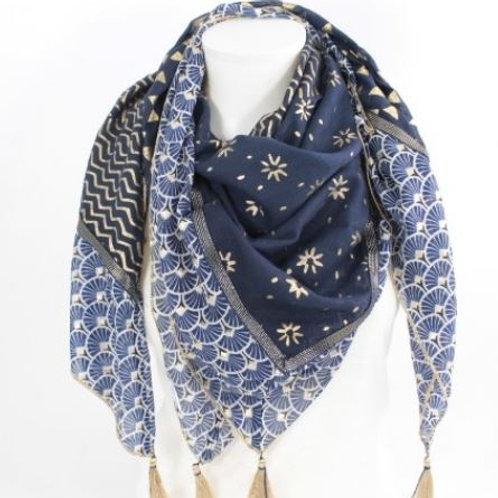 Foulard carré coton tendance mode - marine