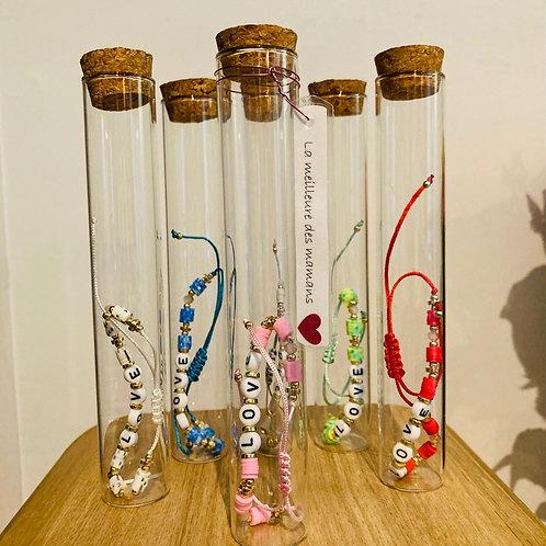 bracelets fantaisie réglables LOVE dans bouteille à message