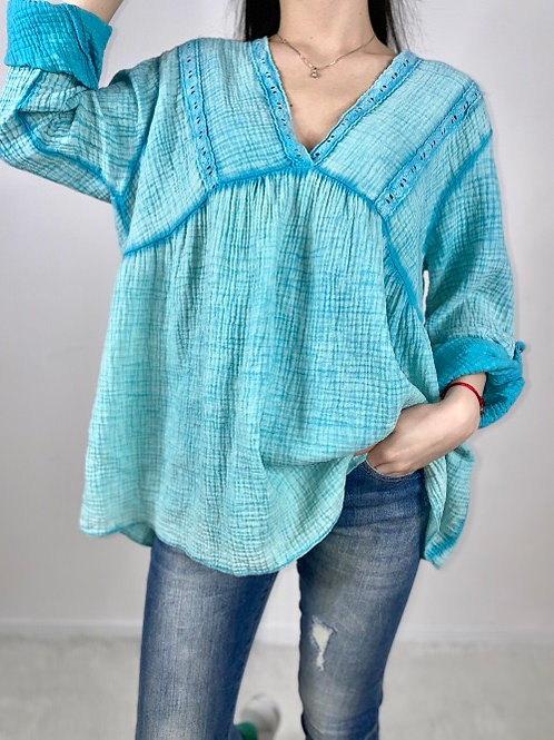 blouse gaze de coton et borderie anglaise