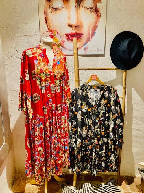 robe longue skulls & flowers rouge