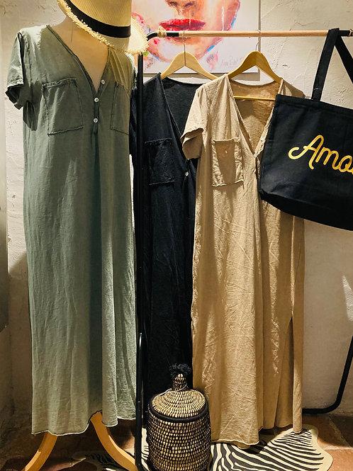 robe longue safari 100% coton
