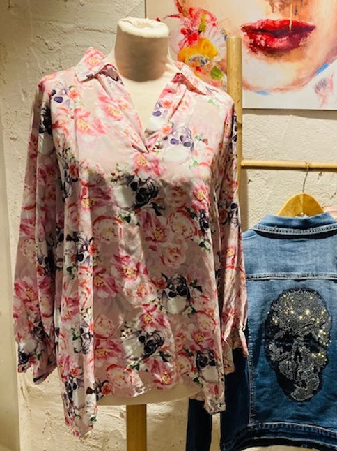 blouse skulls & flowers