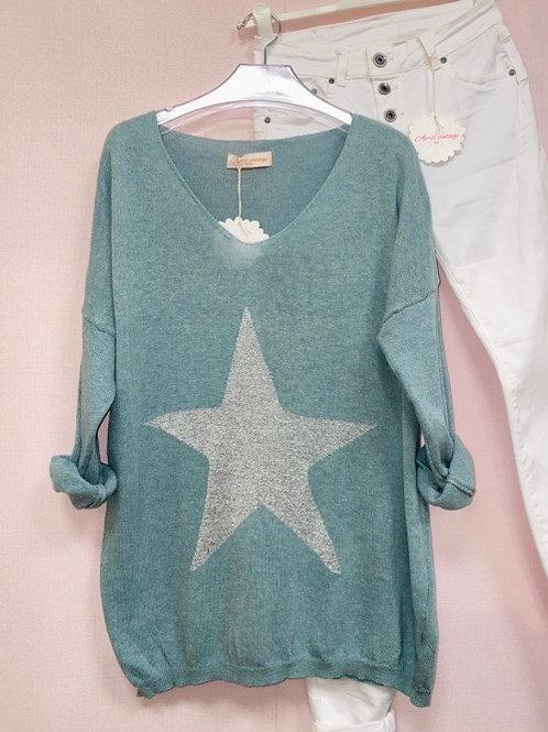 pull bleu Agathe étoile grise