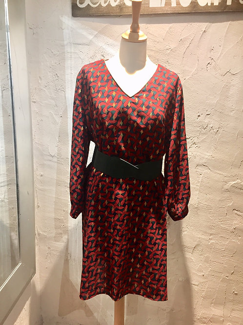 robe rouge, verte et or à motifs CHRISTY