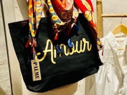 sac en coton noir zippé AMOUR