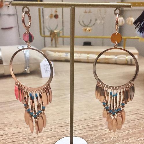 Boucles d'oreilles rosées anneau avec perles bleues