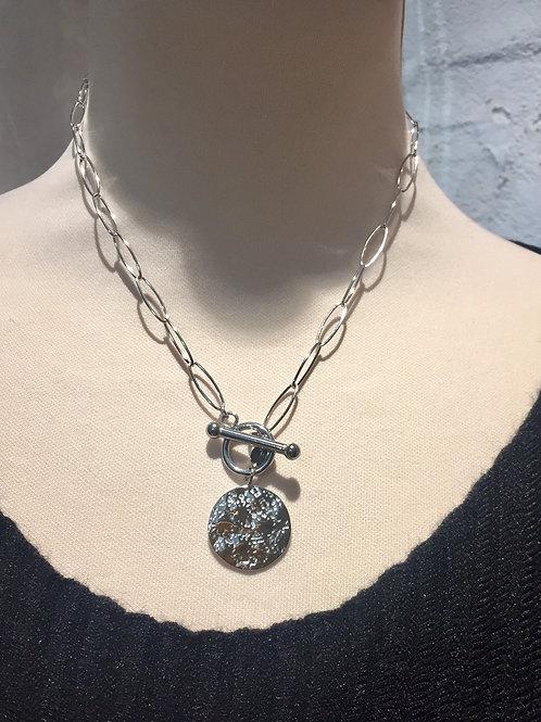 collier argenté avec cabochon acier inoxydable