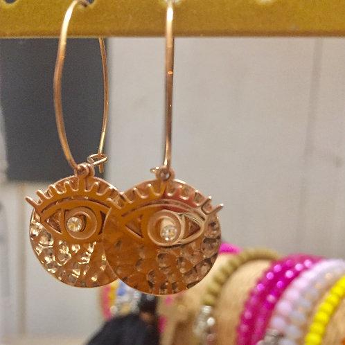 boucles d'oreilles rosées œil  en acier inoxydable