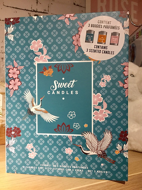 Coffret 3 bougies parfumées métal