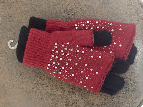 gants mitaines perlés noir et Bordeau