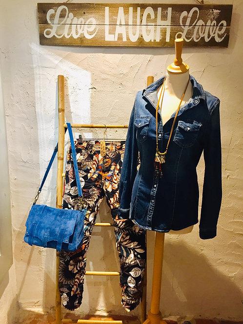 jean à motifs feuilles bleu