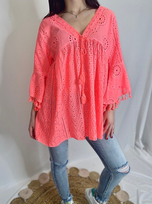 Tunique en broderie anglaise corail fluo
