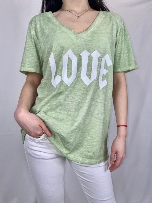 tee shirt love vert