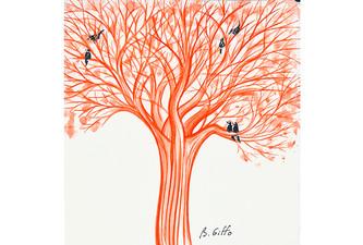 Oiseaux et arbre rouge 2