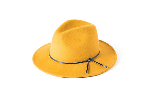 Brushed Wool Trilby with Leather Trim