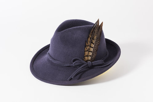 Brushed Wool Trilby with Up Turn Brim & Feather Trim
