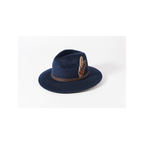 Brushed Wool Trilby with Leather & Feather Trim