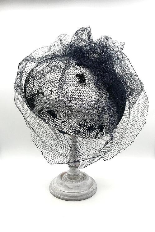 Felt Perch, metallic silver & vintage veiling