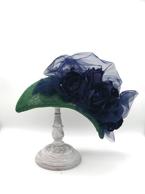 Bottle Green Headband, Navy Blue Silk Roses & Tulle