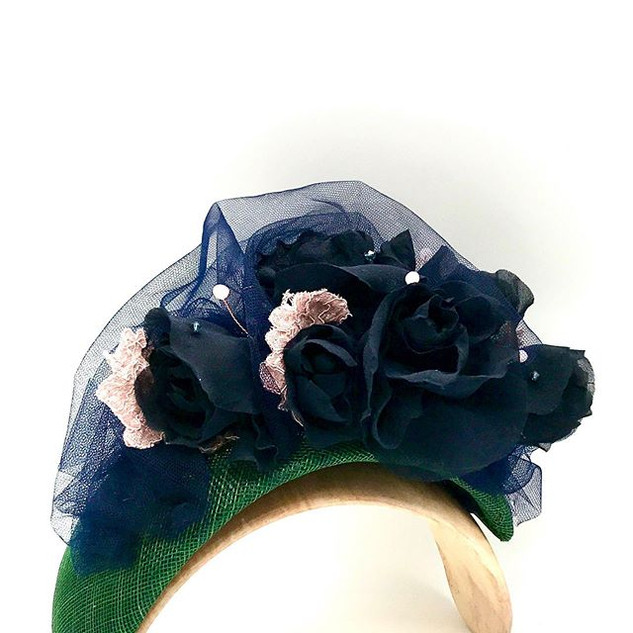 Beautiful silk, tulle & lace headband wi