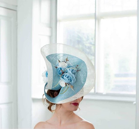 FREE FORM BABY BLUE & WHITE SCULPTURAL HEADPIECE WITH SILK FLOWERS & FEATHER DETAIL