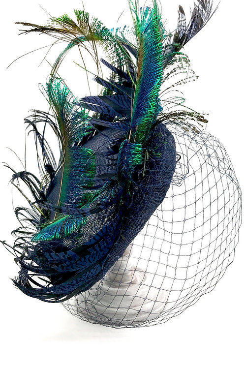 Navy Perch, vintage veiling & peacock feathers
