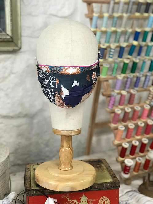 Luxurious 100% Silk Navy & Mix Print - Perfect for warm weather